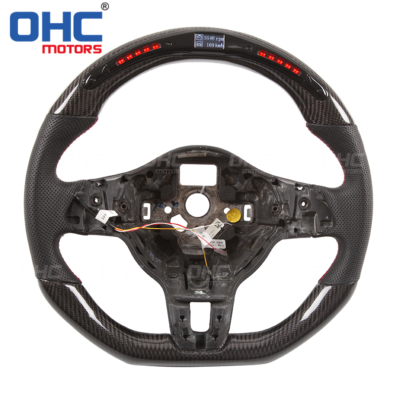 Real Carbon Fiber LED Steering Wheel compatible for VW MK6 Golf GTI R SCIROCCO CC-in Steering Wheels & Steering Wheel Hubs from Automobiles & Motorcycles on OHC Motors Store
