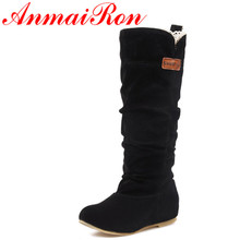 ANMAIRON Women New Fashion Boots Spring & Autumn Size 34-46 Black Flats Shoes Woman Winter Warm Fur Mid-calf