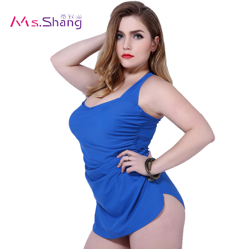 2017 High Elasticity Solid Skirt Swimming Suit Red Blue Black Conservative Swimwear Women Large Size Biqiuni Halter Neck Top 5XL studio m new blue solid women s size large l maxi asymmetrical skirt $78 375