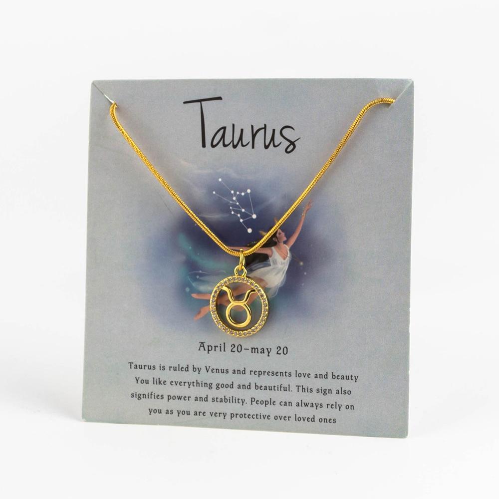 Ожерелье с подвеской в виде животных 12 созвездий для женщин, чокер для пар, массивная цепочка, ожерелье золотого цвета, Знак зодиака с коробкой для карт