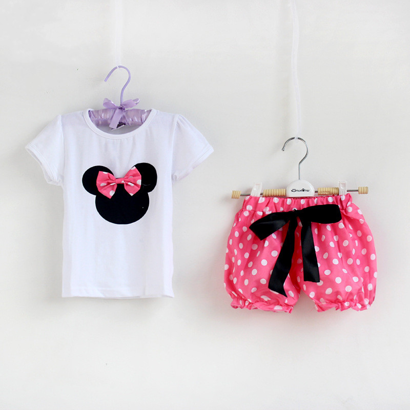 Summer Girl Clothes Set T Shirt + Short pants Children Clothing New Minnie Baby Girls Princess Dress Kids clothes Suit - lucky baby , market store
