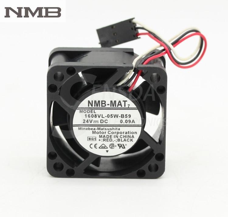Original NMB  waterproof 1608VL-05W-B59 4020 40mm 4cm 40*40*20mm DC 24V 0.09A inverter cooling fan nmb 3610kl 05w b49 9225 24v 3 wire cooling fan blower