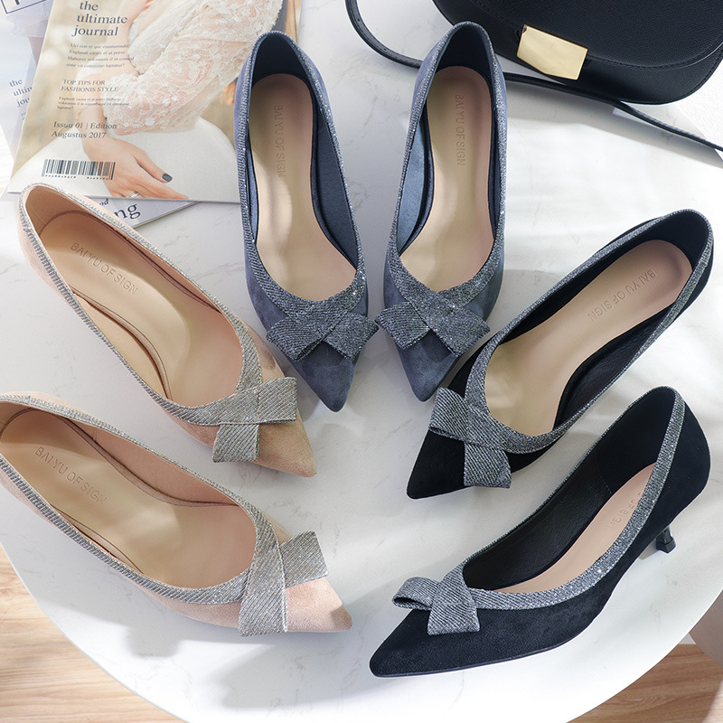 1643296754 famous designer sequined cloth bow high heels shoes woman pointed toe suede  leather glitter pumps small heels sapatos mulhery717