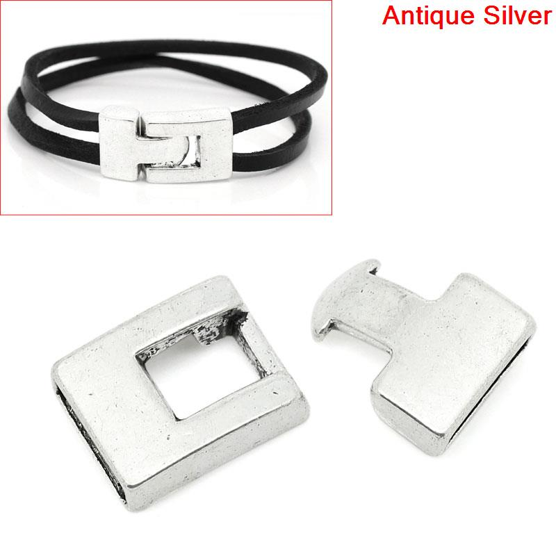 8SEASONS Hook Clasps for Leather Bracelet antique silver-color 28mm x 15mm(1 1/8x 5/8),10 Sets (B28627) 2 sets pack 0 28mm 100