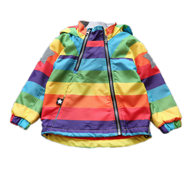 girls spring jackets and coats 2017 new baby girl clothes autumn/winter rainbow girls jackets casual hooded stripe girls trench