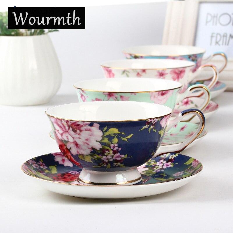 Wourth. Noble Luxury Bone China Coffee <font><b>Cup</b></font> And Saucer Spoon Set Ceramic 200ml Advanced <font><b>Common</b></font> Peony Porcelain Tea <font><b>Cup</b></font> Tray Fo