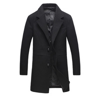 New Autumn & Winter Single Breasted Woolen Coats Men' s Wool Jackets Turn Down Collar Wool & Blends Overcoat Long Mens Coat