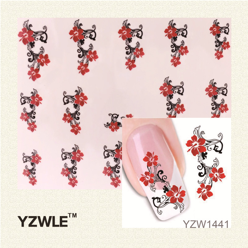 YZWLE 1 Sheet Water Transfer Nail Art Stickers Decal Beauty Cute Sexy Red Flowers Angel Design DIY French Manicure Tools