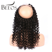 Beeos Deep Wave Pre Plucked 360 Lace Frontal Peruvian Curly Remy Hair 130 Density Swiss Lace