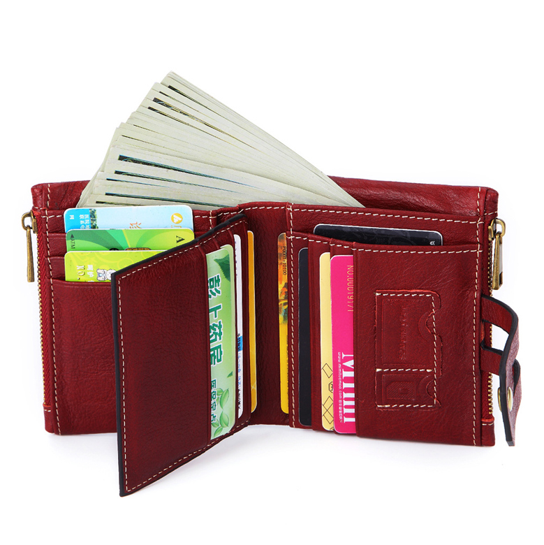Small Leather Zipper Coin Purse Casual Money Pocket ID Card Holder Bag Tote