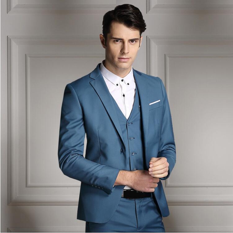 Rand moda masculina três peças conjunto de negócios casual fino ajuste ternos preto cinza azul real do noivo ternos de casamento para homem smoking - 3
