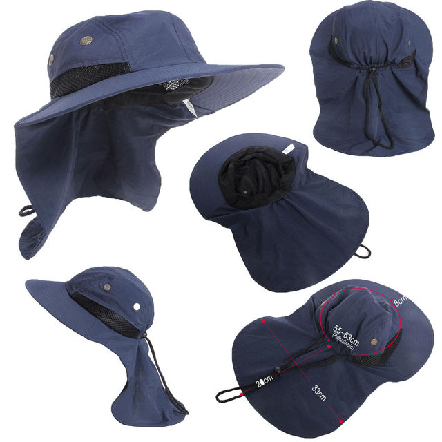 c4d2692e459 Newest Hot Summer New Function Neck Flap Boonie Hat Fishing Hiking Safari  Outdoor Sun Brim Bucket Bush Cap Casual Style