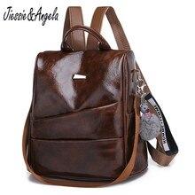 Купить с кэшбэком Jiessie&Angela Vintage Leather Women Backpack Casual Shoulder Bag For Teenage Girls Backpacks Female Multifunction Travel Bags
