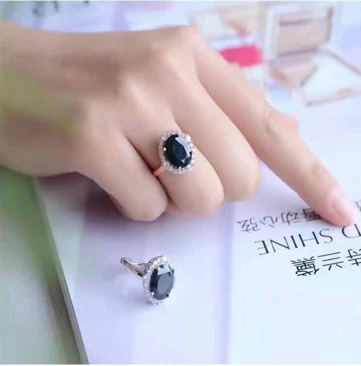 REAL S925 sterling silver inlaid Natural sapphire ring 10*12mm High quality pure Gem good clarity For Men or Woman