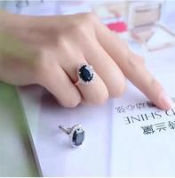 Настоящее S925 Серебро инкрустированные Природный сапфир кольцо 10*12 мм Высокое качество чистого Gem хорошую прозрачность для Для мужчин или же