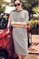 Весна и осень платье в полоску платье Большой размер половина рукава трикотажные длинное платье о шею прямо свободного покроя старинные Dres vestido