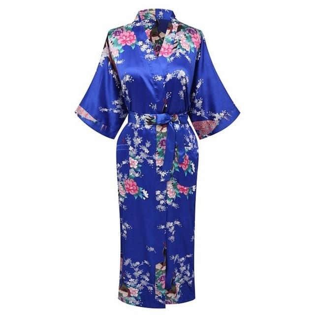 Plus S-XXXL Print Peacock&Flower Sexy Women Silk Rayon Nightgown Bridesmaids Wedding Robes Sleepwear Kimono Bath Dressing Gown