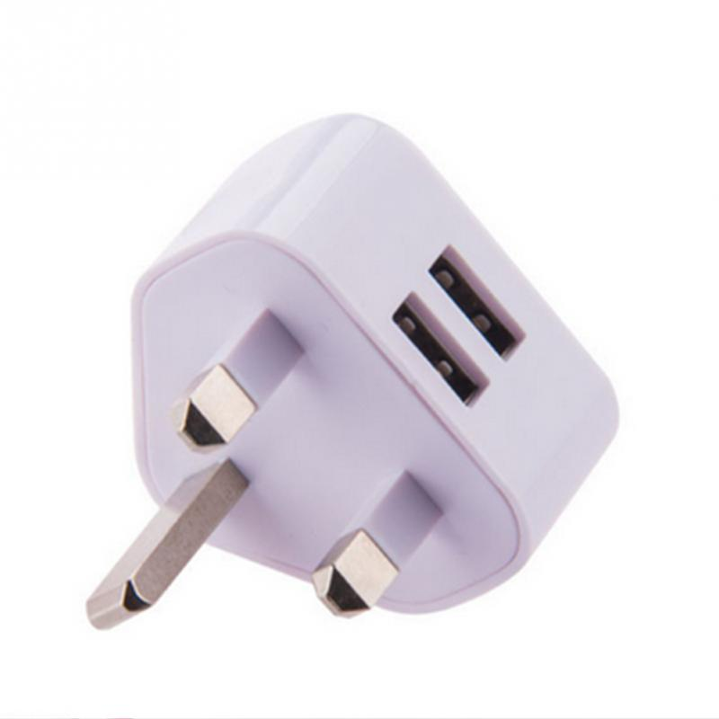 Portable Dual Port USB Power Adapter 5V 2.1A UK Plug Travel Charger For iPhone Samsung
