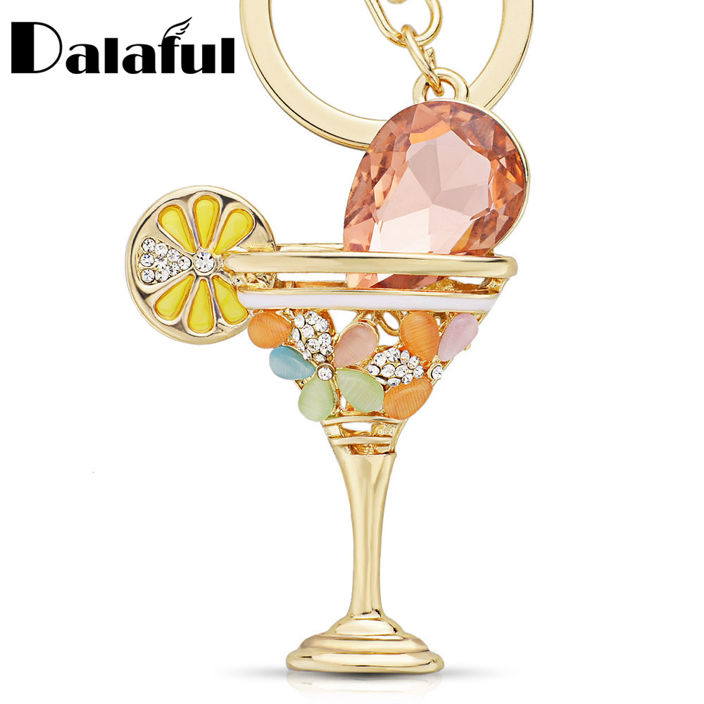 New Wine Glass Cup Lemon Goblet Key Ring Chains Holder Crystal Bag Buckle Pendant For Car Keyrings KeyChains K305