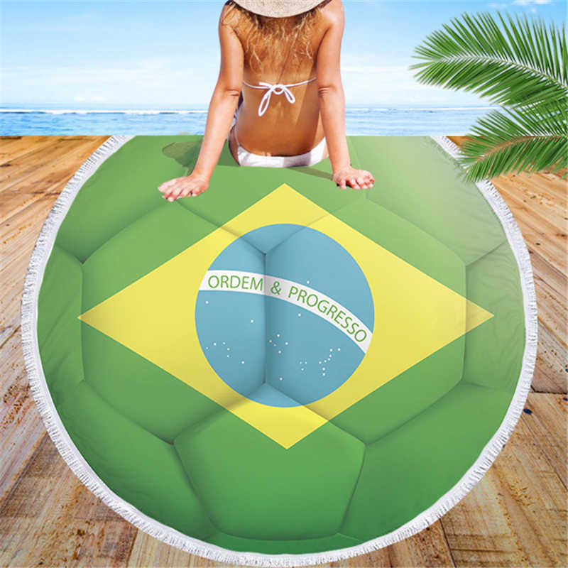 Microfiber Travel Football Beach Towel for Adult Kids Yoga Mat Tassel Blanket Large Round Soccer Flags Towel Tapestry Home Decor