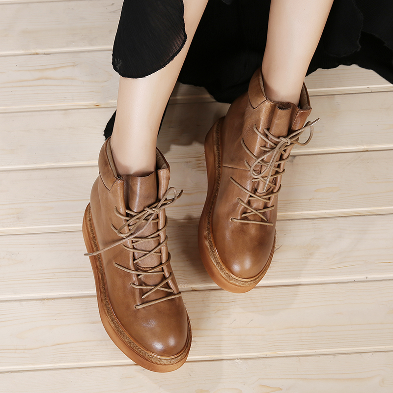 Platform Shoes For Women Genuine Leather Lace Up Lady Ankle Boots Retro Design Factory Female Short