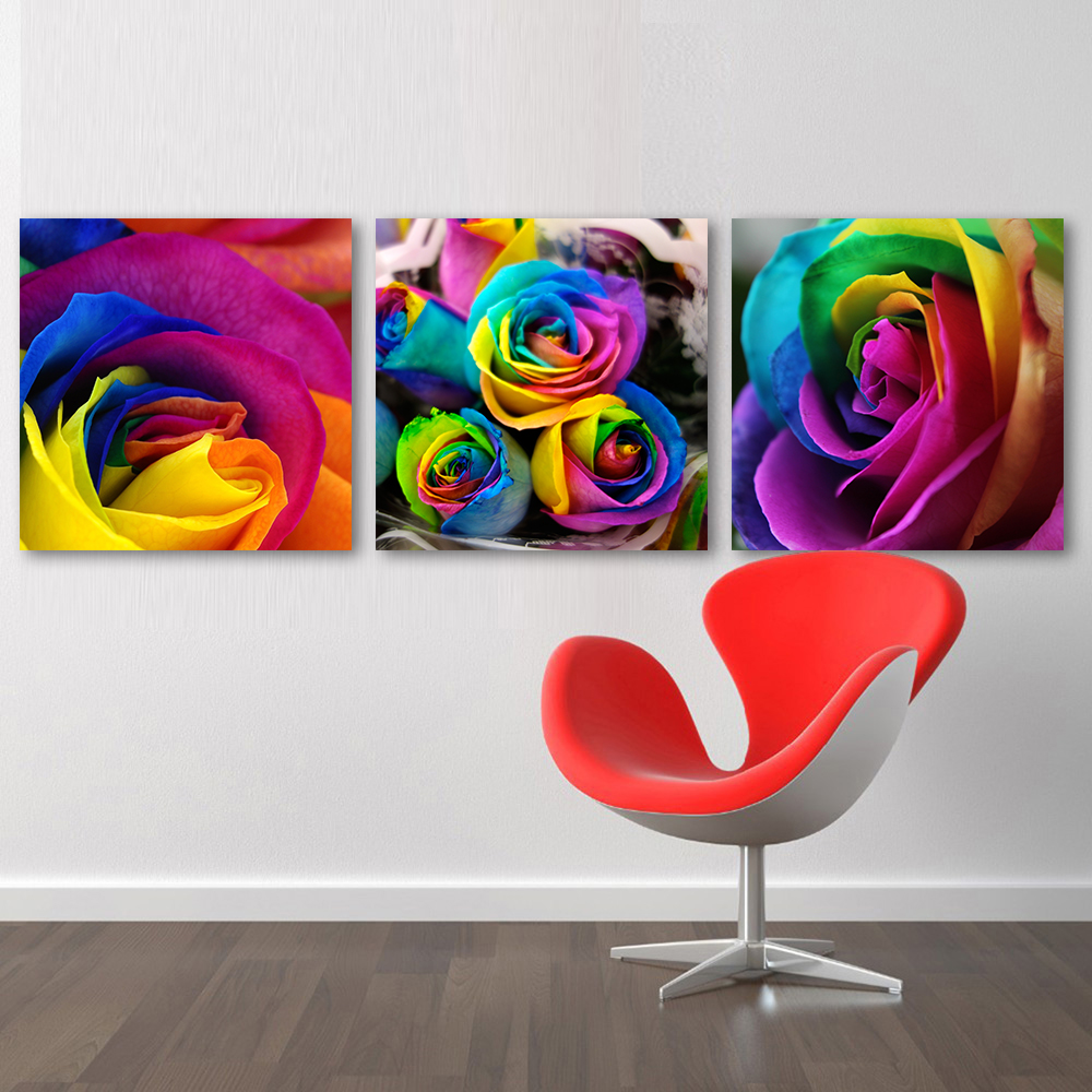 QKART 3 Pieces Wall Art Pictures Canvas Art Rose Colorful Flowers ...