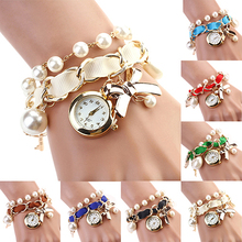 Women Watches Pearl Bowknot Decoration Leather Band Analog Q