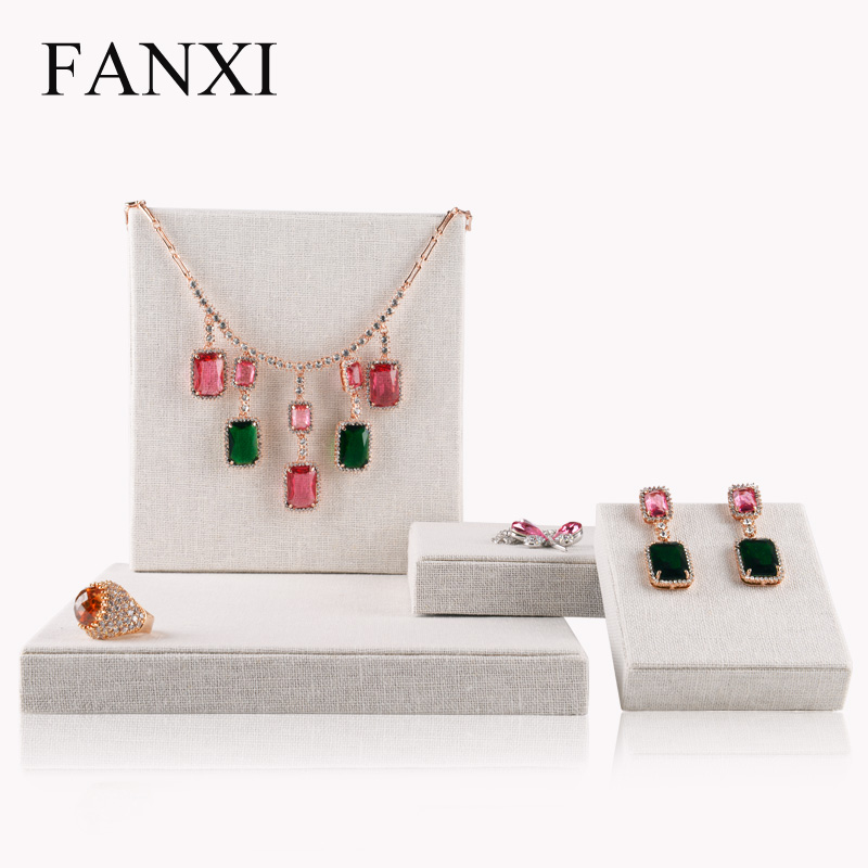 FANXI  4pcs/set Square Block Jewelry Display Showcase Necklace Earrings Holder Pendant Jewelry exhibition multifunctional set