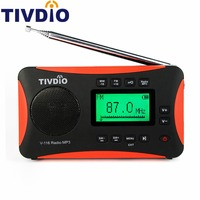 TIVDIO Draagbare Radio FM MW SW Wereld Ontvanger USB/Sd-kaart Met Mp3-speler/Slaap Timer Wekker Recorder/E-book/Kalender F9206