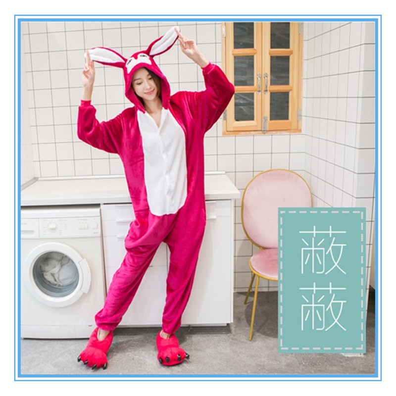 Autumn/winter cute cartoon animal conjoined in the pajamas of ali fox cover flannel men and women long sleeve home.