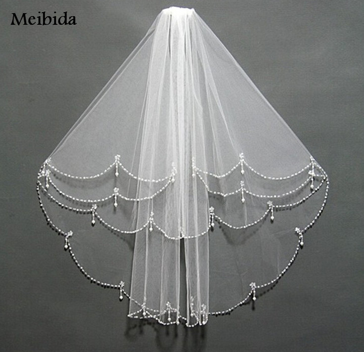 Wedding Veils With Crystal Bead Edage Tocados De Novia Cheap Bridal Veil