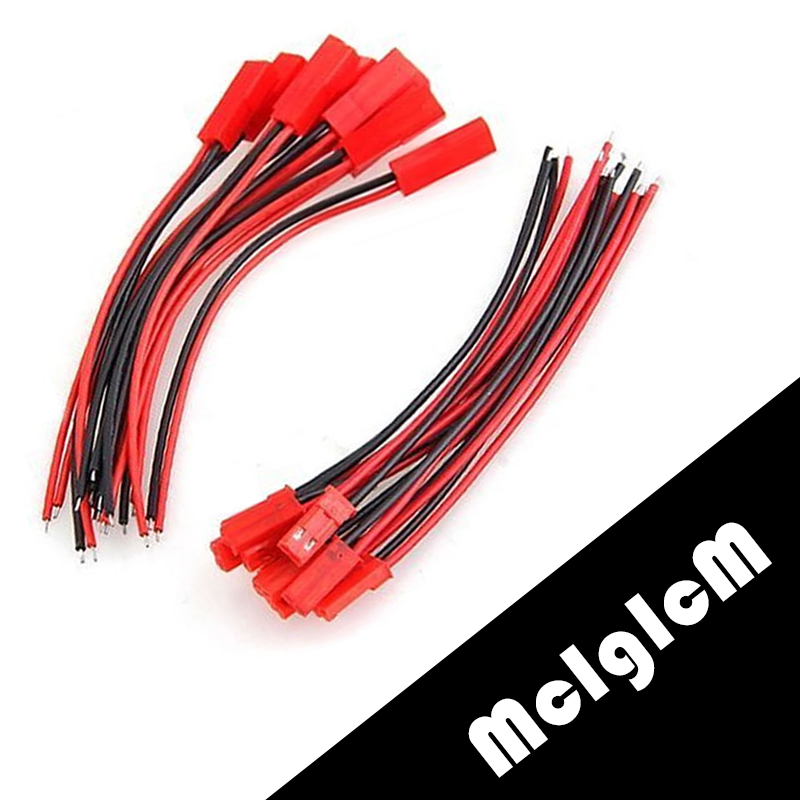 10 Pairs JST Wire Connector Plug Cable 10pcs Male And 10pcs Female 100mm / 150mm For RC Battery Free Shipping