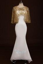 2015 neue Ankunfts-elegante Meerjungfrau Trägerlosen Sicke Mit Jacke Bodenlangen Chiffon Vestidos Formal Abendkleid Abendkleid