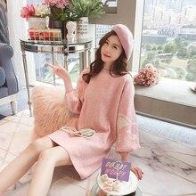 цена на Yellow Dress Loose Korean Knit Dress Chic Harajuku Sweet Pink Yellow Blue Elegant Kawaii Hoodie Birthday Dress