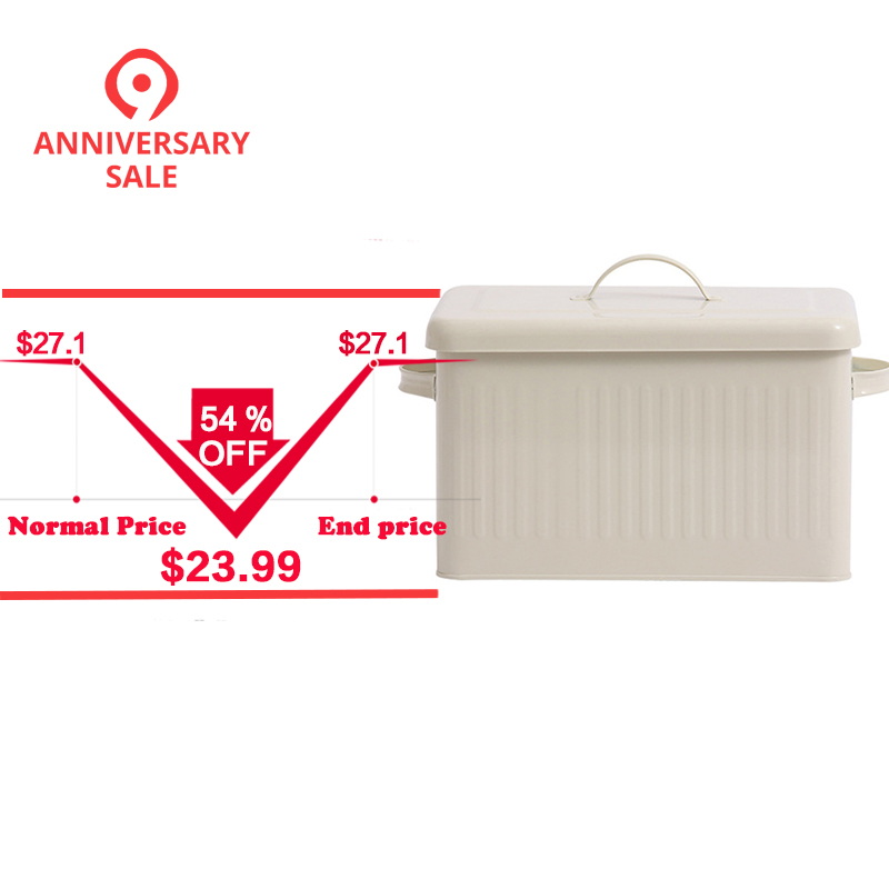 8l Large Metal Bread Box With Lid Dust Proof Case Cream White Retro