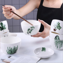 Nordic Green Plant Square Bowl Household Rice Bowl Ceramic Tableware Creative  Porcelain Salad Dish Eating Bowl 1pc 5 6 8 inch japanese cherry blossom ceramic ramen bowl large instant noodle rice soup salad bowl container porcelain tableware