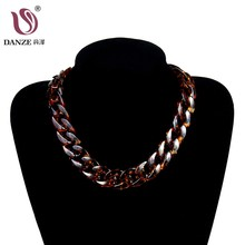 DANZE Women's Elegant Resin Tortoiseshell Winding Choker Necklace Unique Gift Oval Leopard Print Sweater Pendant Necklace Collar(China)