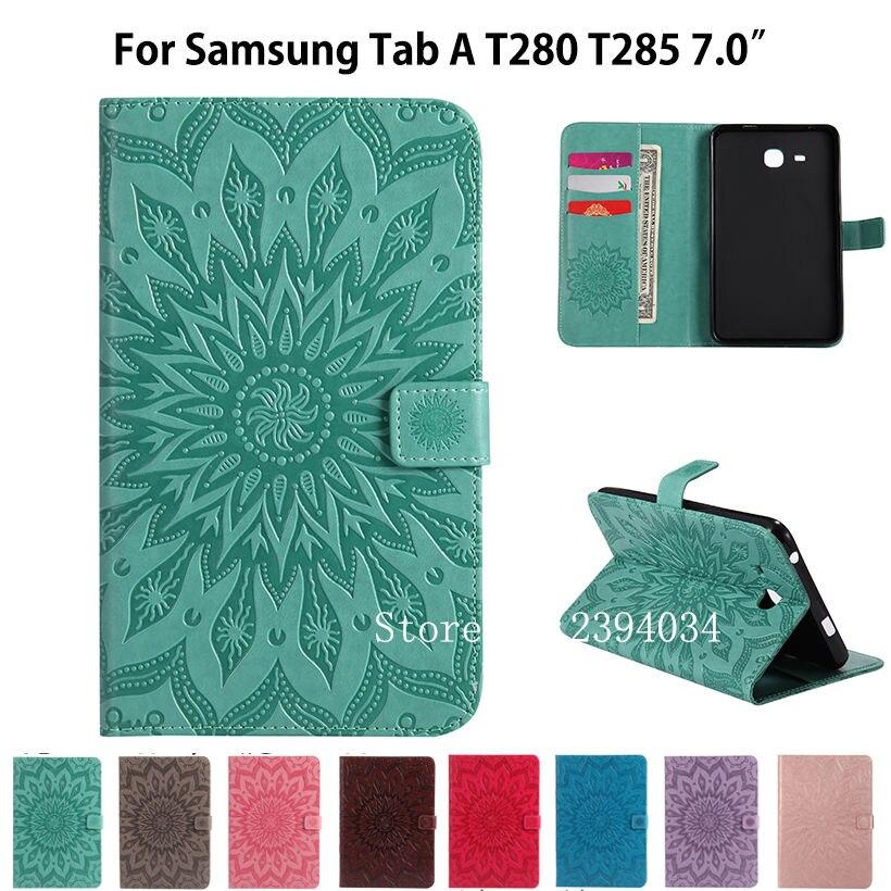 Couverture de Cas De mode Pour Samsung Galaxy Tab Un A6 7.0 2016 T280 T285 SM-T285 7.0 cas Smart Cover Funda Tablet en cuir Stand Shell
