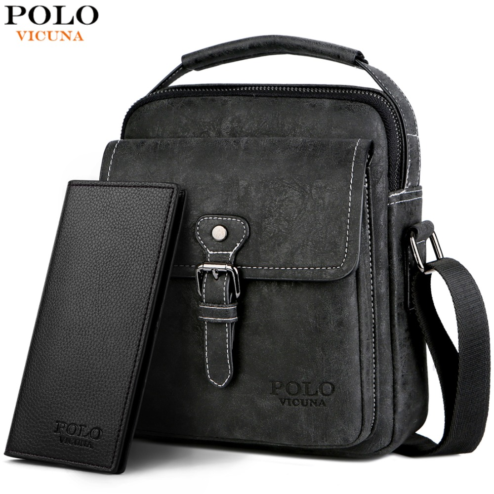 488ee069121e VICUNA POLO Set Series With Long Wallet Vintage Shoulder Bag Casual Man Messenger  Bag Button Open