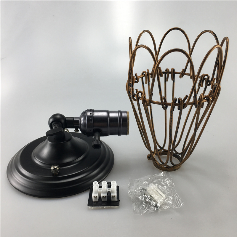 loft industrial iron cage. Creative Loft Industrial Wind Wall Light Retro Small Iron Cage Lamp E26/E27 Bedside For Restaurant Kitchen Bedroom-in Lamps From Lights