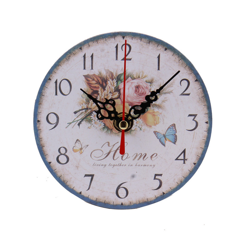 vintage style non ticking silent antique wood wall clock