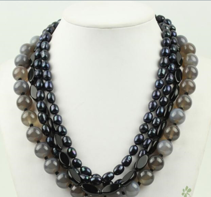 Charme gris perle noir FW collier de perles AAA