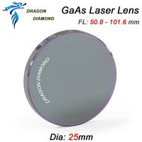 GaAs Laser Focus Lens Dia. 25mm Focal Length 50.8mm 63.5mm 101.6mm For CO2 Laser Engraving Cutter Machine