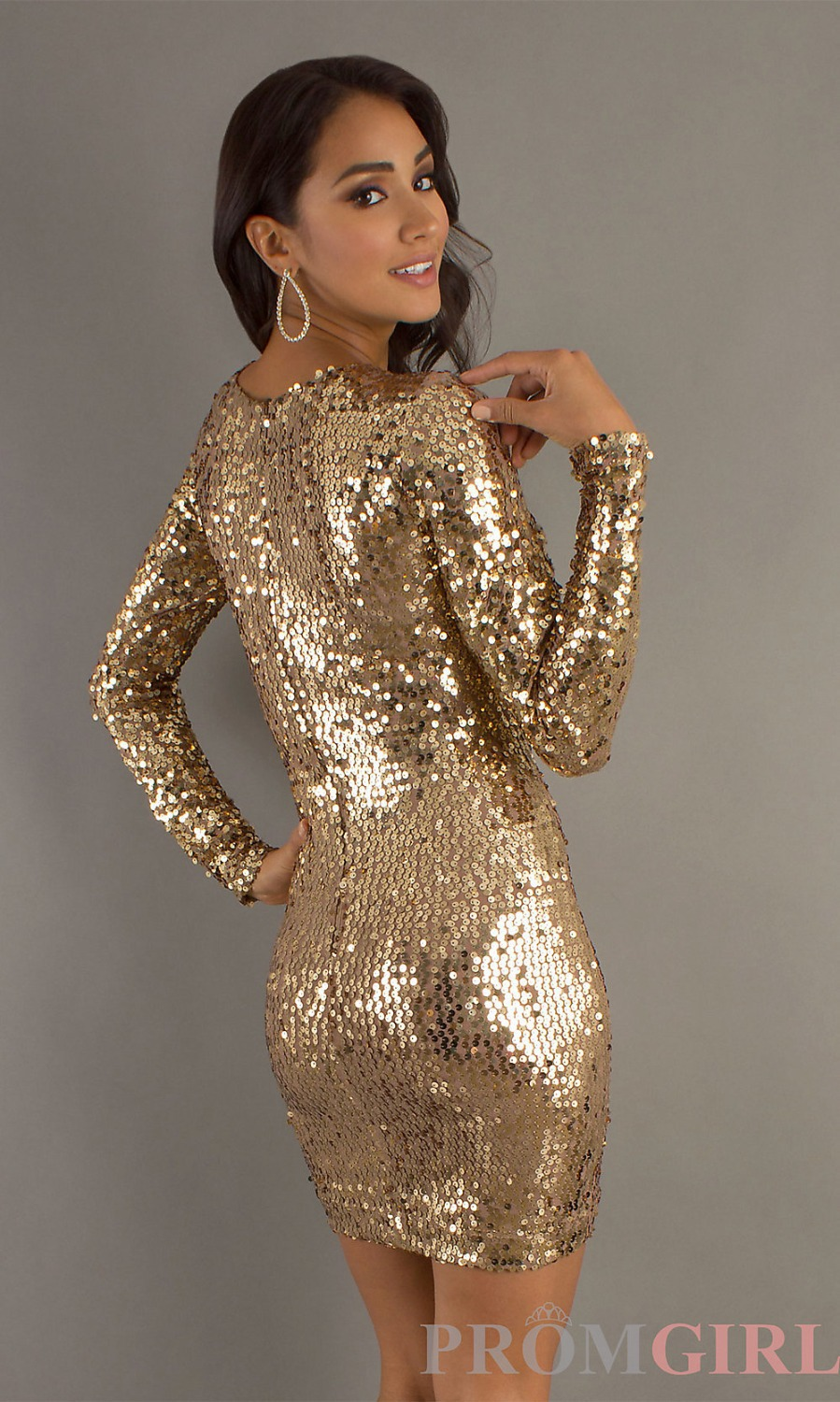 Free Shipping Sexy High Neck Pageant Gowns Gold Sequin Modest Prom Dresses  With Sleeves 2014 New Design-in Cocktail Dresses from Weddings   Events on  ... 19fef78faefc