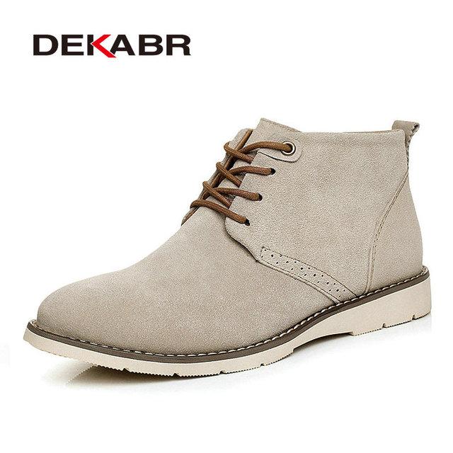 Hombres Botas de Vaca Botas de Nieve de Cuero de Gamuza Hombres Otoño Invierno zapatos de Tobillo Botas de Moda Calientes de la Nieve Zapatos Planos Ocasionales Tamaño 38-44