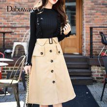 9243afe087de Dabuwawa Autumn Women Fashion Elegant Skirt Streetwear Casual Designer A Line  High Waist Midi Skirt Faldas Mujer #D17CSK032