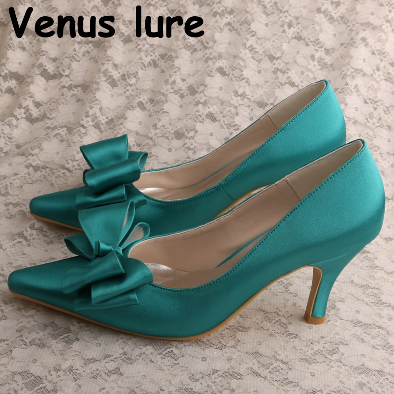 Olive Green Satin Shoes Wedding With Bows Mid Heel Pointed
