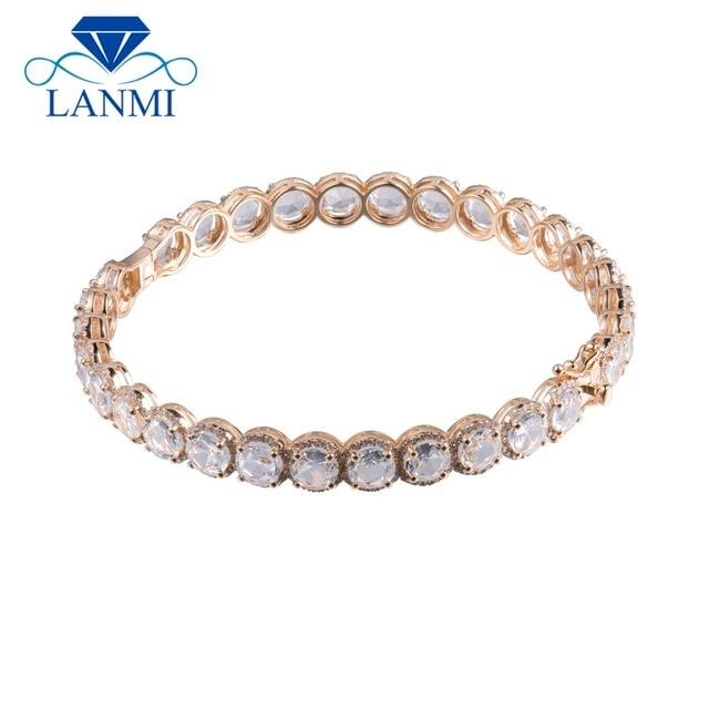 cf915ac52a85 Sólido 14 K oro amarillo brazaletes Topacio blanco con diamante de piedras  preciosas brazalete de joyería