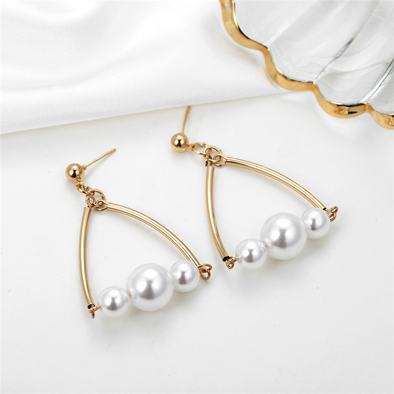 Elegant Simulated Pearl Long Earrings Korean Style Hang Luxury Geometric Triangle Bow Knot Cute Earrings Drop Earrings For Women in Drop Earrings from Jewelry Accessories