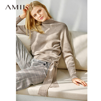 Amii Causal Lace Up Sweater Women Autumn 2018 Elegant Solid Long Sleeve Warm Knitted Turtleneck Pullover Sweater